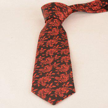 Small Sunflower Jacquard 8CM Width Tie - RED