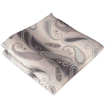 Paisley Jacquard Stripe Printed Pocket Square - DEEP GRAY DEEP GRAY
