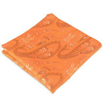 Paisley Jacquard Stripe Printed Pocket Square - ORANGE ORANGE