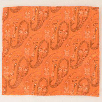 Paisley Jacquard Stripe Printed Pocket Square -  ORANGE