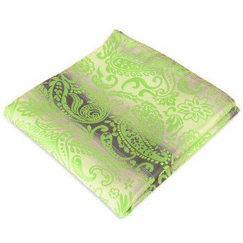 Paisley Jacquard Stripe Printed Pocket Square - GREEN GREEN