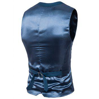Single Breasted Satin Insert Belted Waistcoat - OCEAN BLUE 4XL
