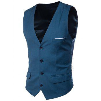 Single Breasted Satin Insert Belted Waistcoat - OCEAN BLUE 2XL