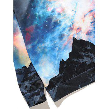 Kangaroo Pocket Drawstring Colorful Galaxy Hoodie - COLORMIX 3XL