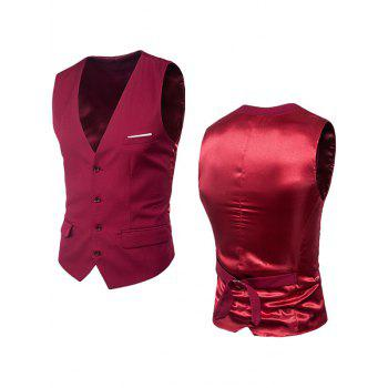 Single Breasted Satin Insert Belted Waistcoat - WINE RED WINE RED