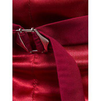 Single Breasted Satin Insert Belted Waistcoat - WINE RED 6XL