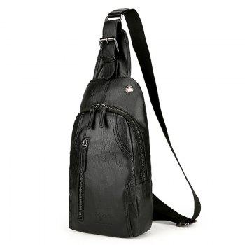 PU Leather Headphone Hole Chest Bag - BLACK