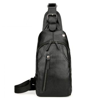 PU Leather Headphone Hole Front Crossbody Bag - BLACK BLACK