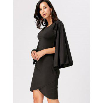 Party Mini Cape Dress - BLACK 2XL