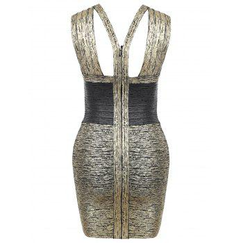 V Neck Sleeveless Metallic Bandage Dress - M M