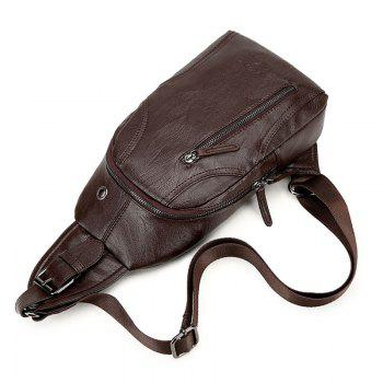 PU Leather Headphone Hole Chest Bag -  BROWN