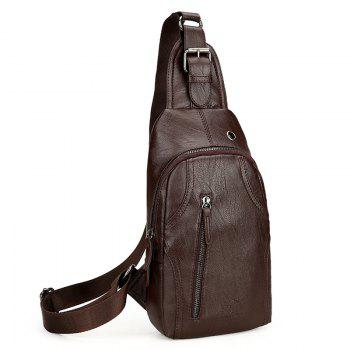 PU Leather Headphone Hole Chest Bag - BROWN BROWN