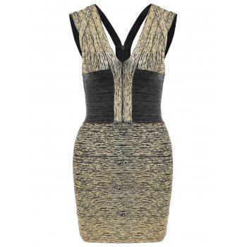 V Neck Sleeveless Metallic Bandage Dress - BLACK AND GOLDEN L