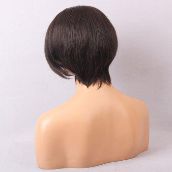 Short Inclined Fringe Straight Bob Lace Front Human Hair Wig - MEDIUM BROWN