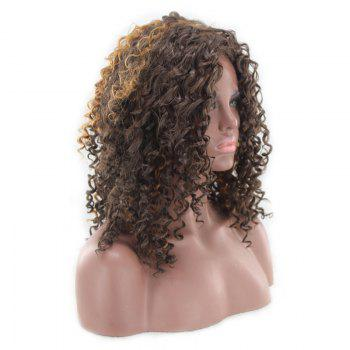 Medium Side Bang Fluffy Afro Curly Highlight Perruque synthétique - multicolorcolore