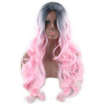 Long Colormix Center Parting Wavy Synthetic Wig -  COLORMIX