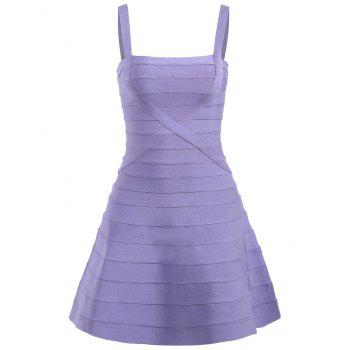 Spaghetti Strap A-line Bandage Dress - PURPLE L