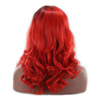 Long Middle Part Fluffy Wavy Colormix Synthetic Wig -  BLACK/RED
