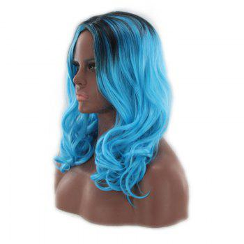 Long Middle Part Fluffy Wavy Colormix Synthetic Wig -  BLUE/BLACK
