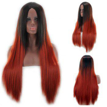 Long Center Parting Double Color Straight Synthetic Wig - COLORMIX COLORMIX