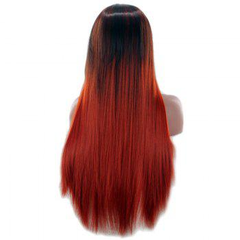 Long Center Parting Double Color Straight Synthetic Wig -  COLORMIX