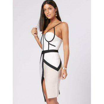 Color Block Slip Bandage Dress - S S