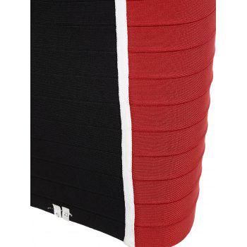 V Neck Color Block Bandage Dress - RED L