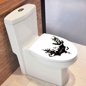 Halloween Bat Owl Toilet Sticker - BLACK