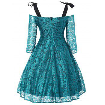 Bowknot Cold Shoulder Lace Dress - MALACHITE GREEN 2XL