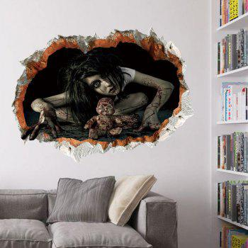 Halloween Zombie 3D Broken Wall Art Sticker