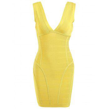 Plunging Neck  Sleeveless Bandage Dress