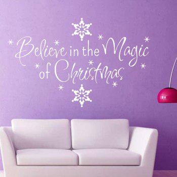 Christmas Letter Snowflake Wall Art Stickers - WHITE