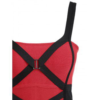 Criss Cross Color Block Bandage Dress - RED L
