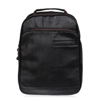 Double Pocket Faux Leather Backpack - BLACK BLACK