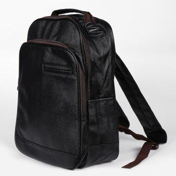Double Pocket Faux Leather Backpack -  BLACK