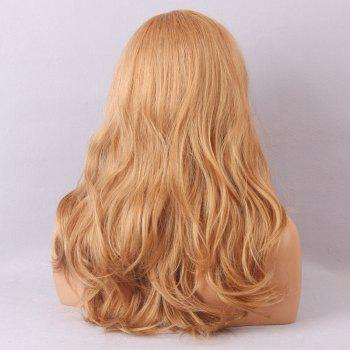 Long Deep Side Bang Bouffant Slightly Curly Human Hair Lace Front Hair Wig -  BLONDE/AUBURN BROWN