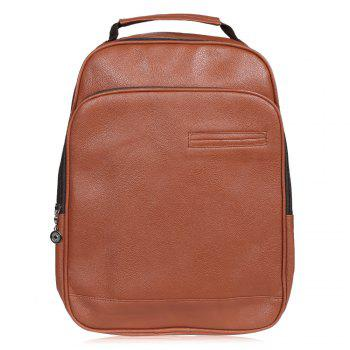 Double Pocket Faux Leather Backpack - BROWN BROWN