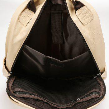 Double Pocket Faux Leather Backpack -  KHAKI