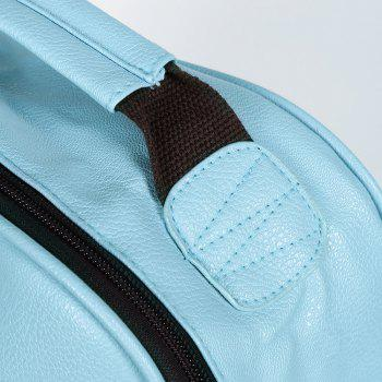 Double Pocket Faux Leather Backpack - LIGHT BLUE