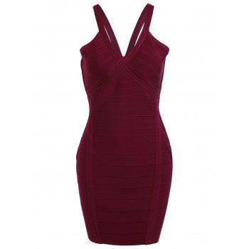 Cami Strap Night Out Bandage Dress - WINE RED M