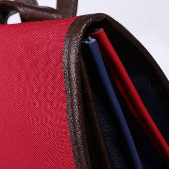 Color Block Nylon Backpack -  RED