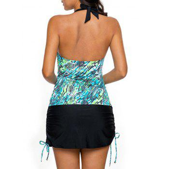 Ensemble Halter Skirted Tankini - Bleu Vert XL