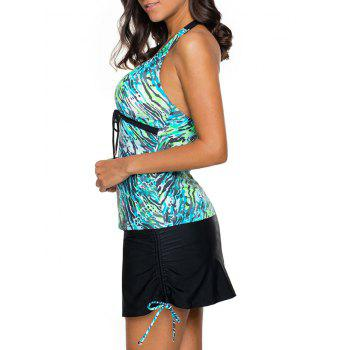 Halter Skirted Tankini Set - BLUE GREEN BLUE GREEN