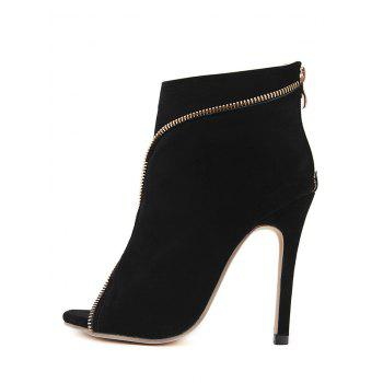 Peep Toe Zip Embellished Stiletto Heel Boots - BLACK 39