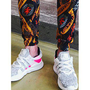 Embossing Ethnic Style Print Jogger Pants - multicolorcolore XL