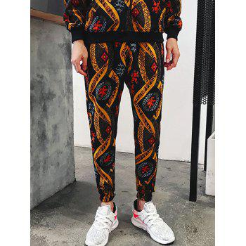 Embossing Ethnic Style Print Jogger Pants - multicolorcolore 2XL