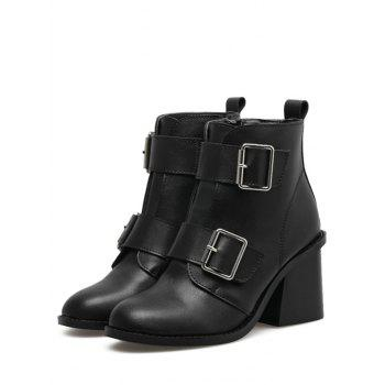 Double Buckle Straps Chunky Heel Ankle Boots - BLACK 38
