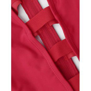 Strappy Bandage One Piece Swimsuit - RED L