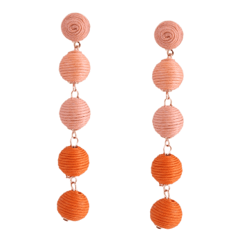 Boucles d'oreilles à bille ethnique - Orange