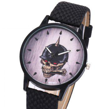Smoking Skull Face Quartz Watch - BLACK